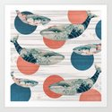 Whales and Polka Dots Art Print