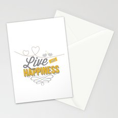 Live with happiness Stationery Cards