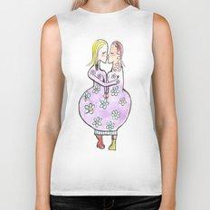 Kissing women in a flower dress Biker Tank