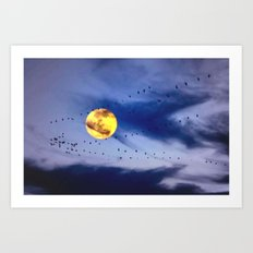 On a left along the moon and further to the east. Art Print