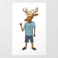 Country deer Art Print