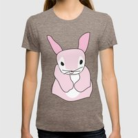 Pink Bunny Rabbit Womens Fitted Tee Tri-Coffee SMALL