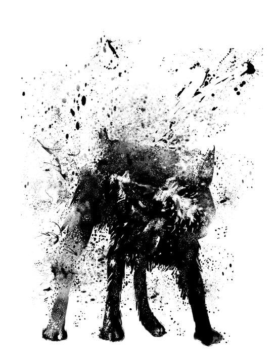 wet dog Art Print