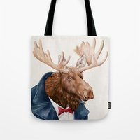 Moose in Navy Blue Tote Bag