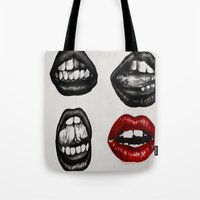 Black Lips Red Mouth Tote Bag