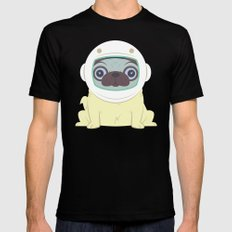 Pug in Space Mens Fitted Tee Black SMALL