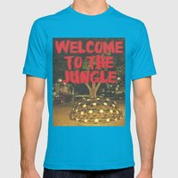 Welcome To The Jungle Mens Fitted Tee Teal SMALL