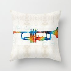 Colorful Trumpet Art Color Fusion By Sharon Cummings Throw Pillow
