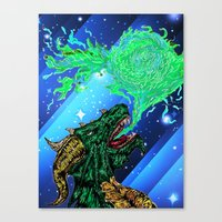 green dragon fire artist Canvas Print