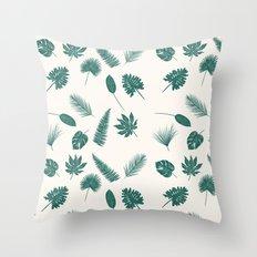 Botanical study - Green Fern Leaves pattern  Throw Pillow