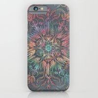 iPhone Cases featuring Winter Sunset Mandala in Charcoal, Mint and Melon by micklyn