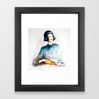 Girl with Crocodile Skull Framed Art Print