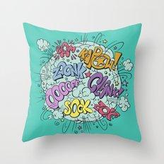 comic brawl Throw Pillow