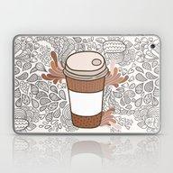 Doodle Coffee Cup Laptop & iPad Skin