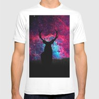 Deer Galaxy Mens Fitted Tee White SMALL