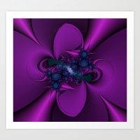 Purple And Blue Fractal … Art Print