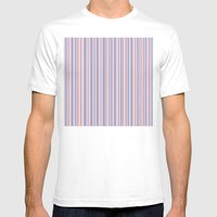 Rose Quartz and Serenity stripes Mens Fitted Tee White SMALL
