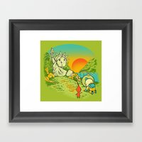 Planet Of The Pikminis Framed Art Print