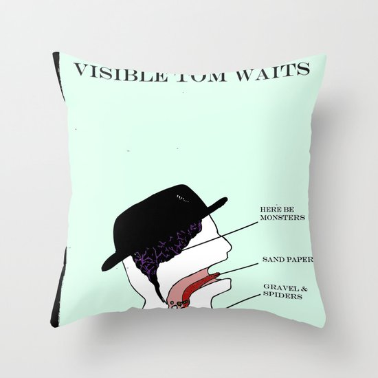 VISIBLE TOM WAITS Throw Pillow