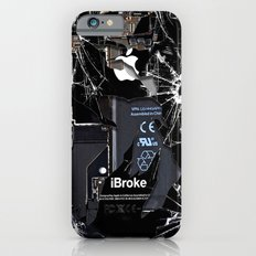 Broken, rupture, damaged, cracked black apple iPhone 4 5 5s 5c, ipad, pillow case and tshirt Slim Case iPhone 6s