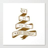 Golden Christmas Ribbon Canvas Print