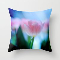 Tulip love (Blue) Throw Pillow