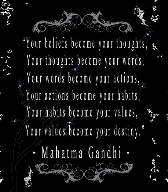 Your beliefs become your thoughts Art Print