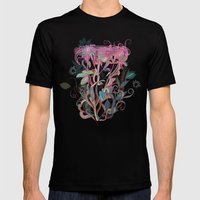 Floral clover Mens Fitted Tee Black SMALL