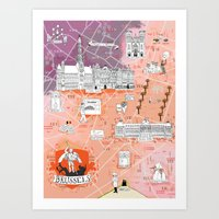 Illustrated Map Of Bruss… Art Print