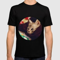 christmas kitten SMALL Black Mens Fitted Tee