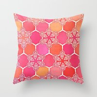 Pink Spice Honeycomb - Doodle Hexagon Pattern Throw Pillow