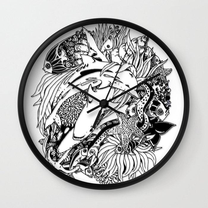Wall Clock Art Design : Sea ocean animals art design wall clock by bluedarkart