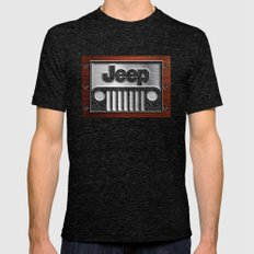 Embossed Steel Jeep logo with wood background iPhone 4 4s 5 5c 6, pillow case, mugs and tshirt Mens Fitted Tee Tri-Black SMALL