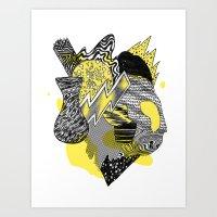Vase on galaxies Art Print