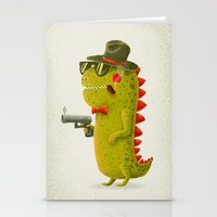 Dino bandito (olive) Stationery Cards
