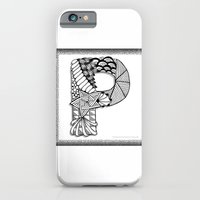iPhone Cases featuring Zentangle P Monogram Alphabet Illustration by Vermont Greetings