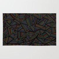 Ab Linear Rainbow Black Rug