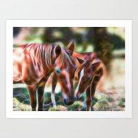Horse Kisses Art Print