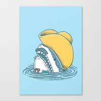 Funny Hat Shark Canvas Print