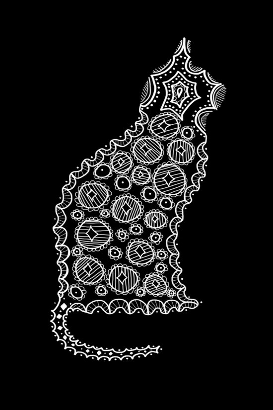 Cat Zendoodle Design Art Print