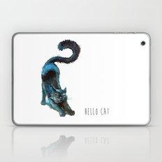 Black Blue Cat Stretching Drawing  Laptop & iPad Skin