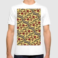 pattern pizza SMALL White Mens Fitted Tee