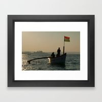 Dolphin Boat with Indian Flag Palolem Framed Art Print