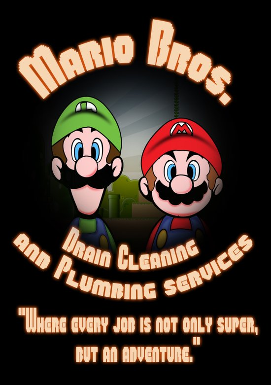 Super Mario Bros. Drain Cleaning & Plumbing Service Art Print