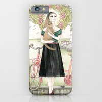 Girl and cat with pink bicycle iPhone 6 Slim Case