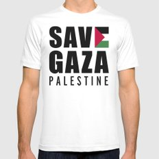 Save Gaza Quote SMALL White Mens Fitted Tee