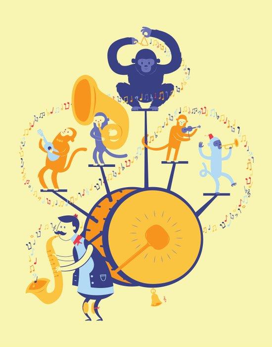 One man (five monkey) band Art Print