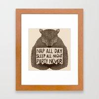 Nap All Day Sleep All Ni… Framed Art Print