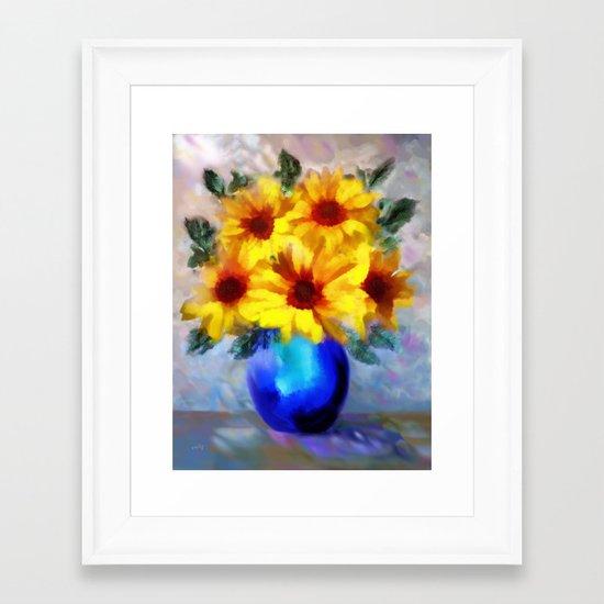 FLOWERS - A vase of Sunflowers Framed Art Print