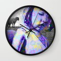 The jeremy girl and the sheeps - flower version - purple Wall Clock